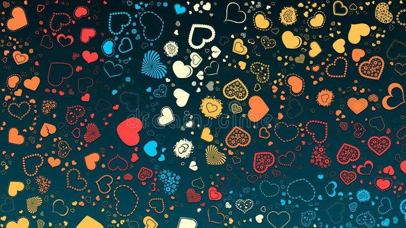 Абстрактный дизайн, темная предпосылка, текстура красных желтых голубых множественных сердец, форма сердца стоковые фото