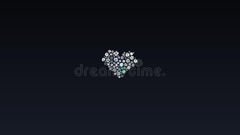 Абстрактный дизайн, черная предпосылка, текстура белых множественных цветков, форма сердца стоковые изображения rf