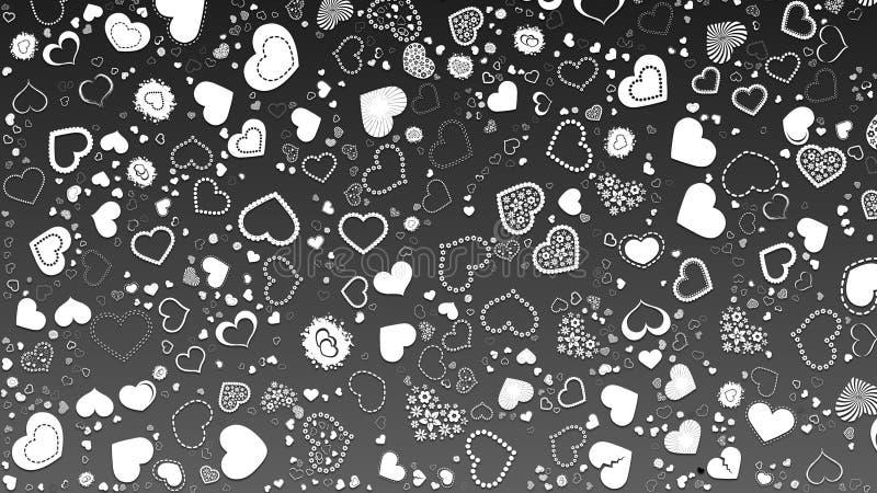 Абстрактный дизайн, черная предпосылка, текстура белых множественных сердец, форма сердца стоковая фотография
