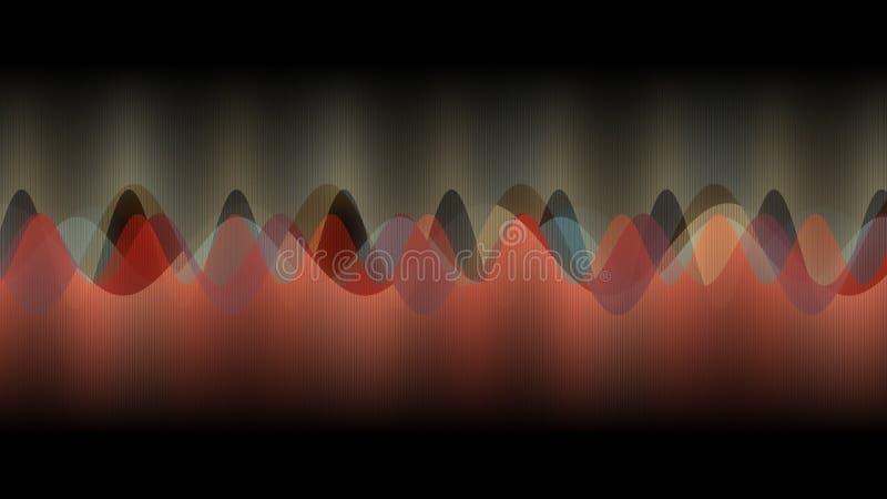 Абстрактный дизайн, черные цвета предпосылки, текстуры множественных вертикальных линий, волн музыки, оранжевых и золотых стоковые изображения rf