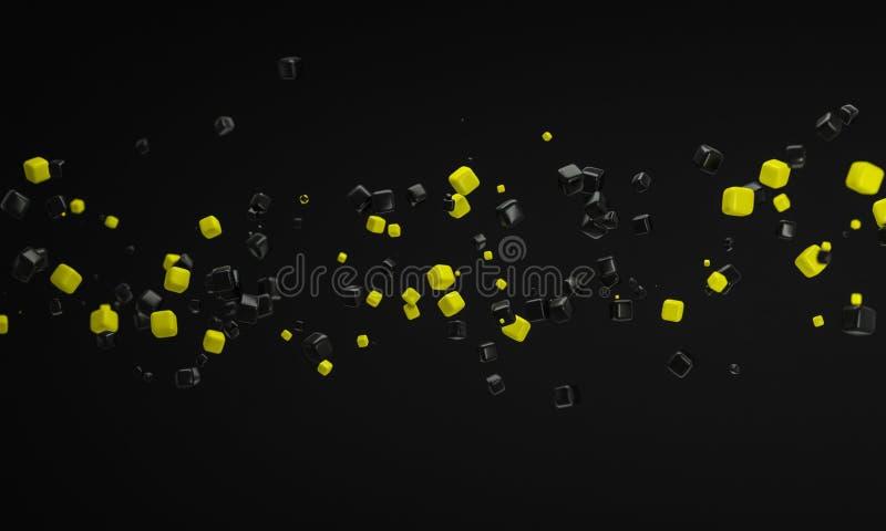 Абстрактный желтый цвет и черный ящик дуя в предпосылке 3d ветра иллюстрация штока
