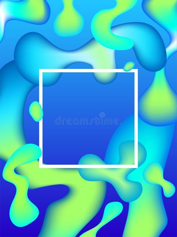 Абстрактный жидкий плакат vector яркая неоновая красочная иллюстрация с пропуская формами & мягко переводите между пятнами цвета иллюстрация штока