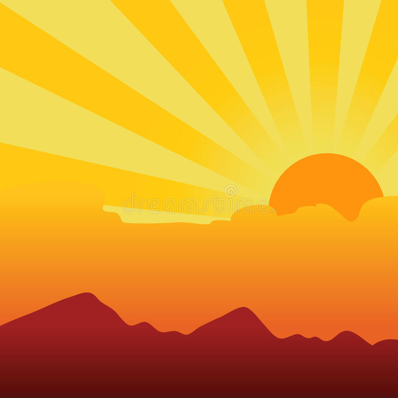 абстрактный заход солнца предпосылки иллюстрация штока