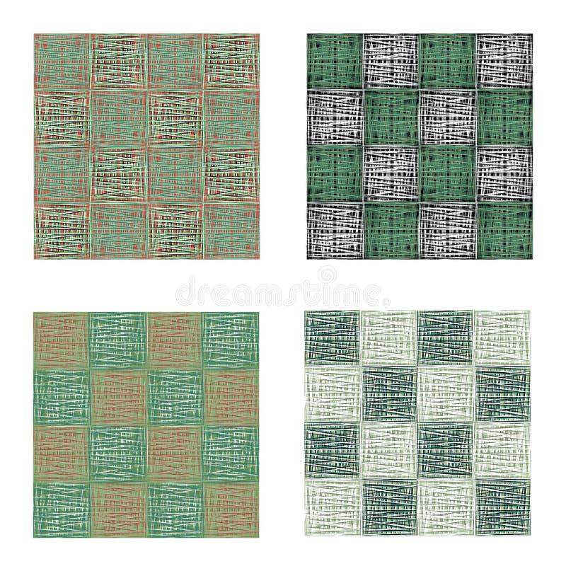 Абстрактный зеленый городской геометрический безшовный комплект картины Квадраты, нашивки, линии Современный grunge, предпосылка  иллюстрация вектора