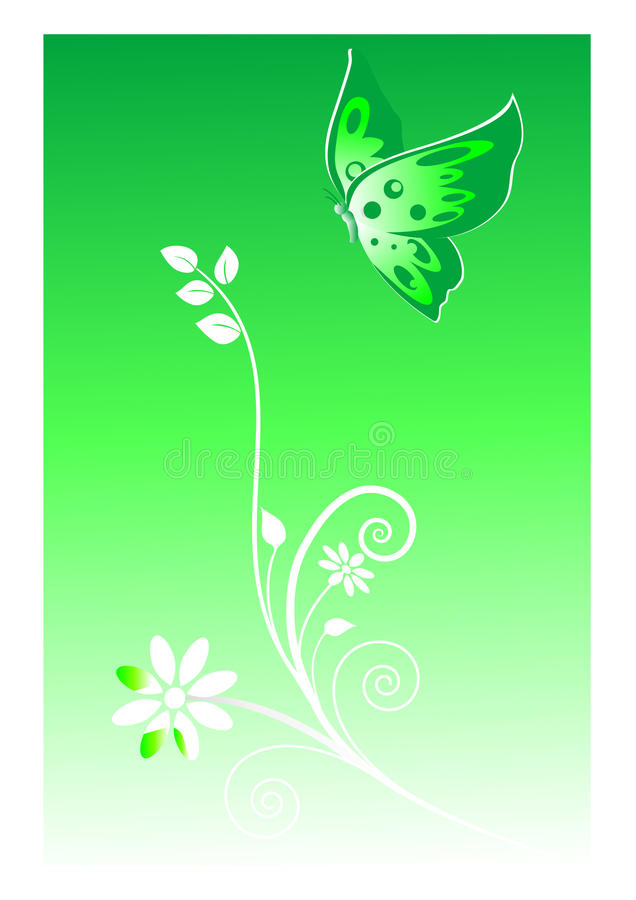 абстрактный зеленый цвет бабочки предпосылки иллюстрация штока