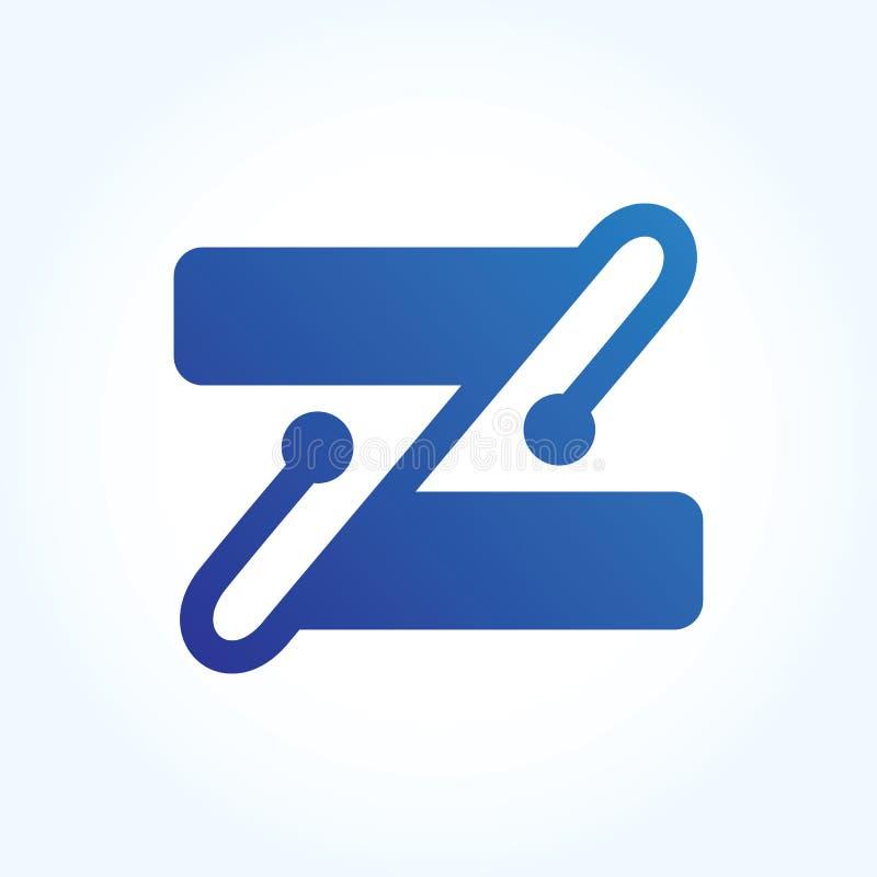 Абстрактный знак логотипа круга письма z материальный дизайн - вектор стоковое изображение