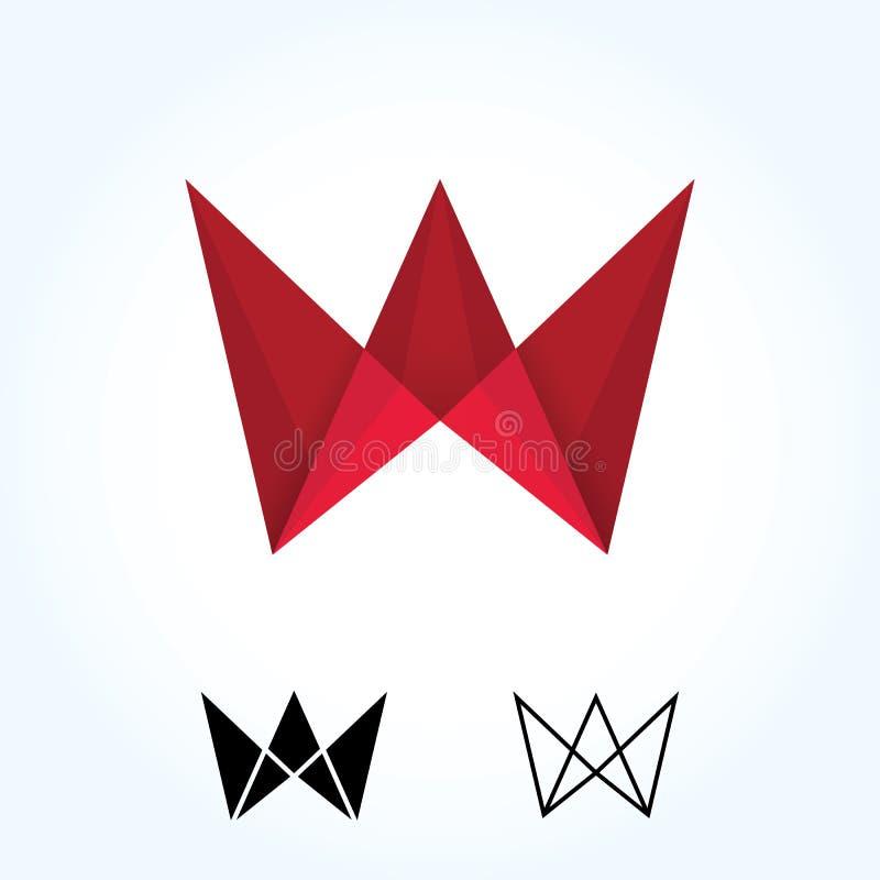 Абстрактный знак логотипа origami кроны w письма Бумажный материальный дизайн, квартира и линия стиль - вектор иллюстрация штока