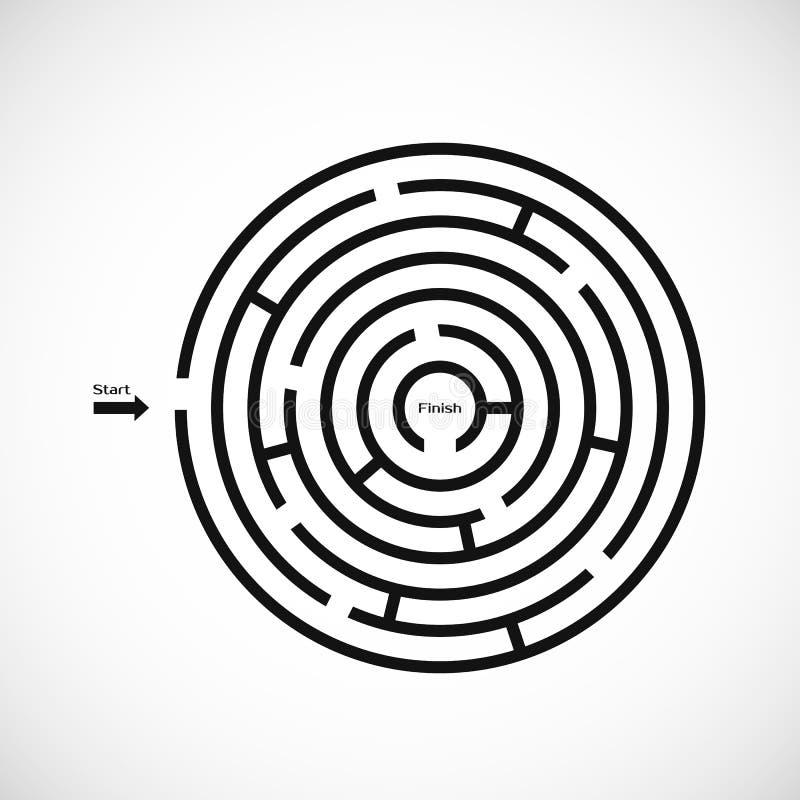 Абстрактный значок лабиринта лабиринта Круговой элемент дизайна формы лабиринта Иллюстрация вектора изолированная на белой предпо бесплатная иллюстрация