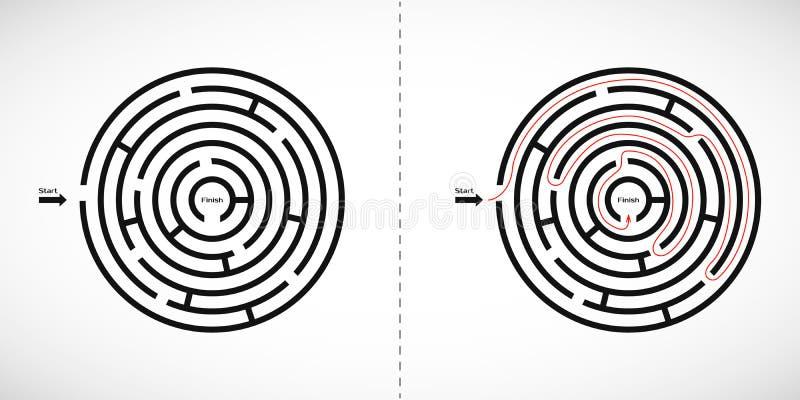 Абстрактный значок лабиринта лабиринта Элемент дизайна формы лабиринта с одним входом и одним выходом также вектор иллюстрации пр бесплатная иллюстрация
