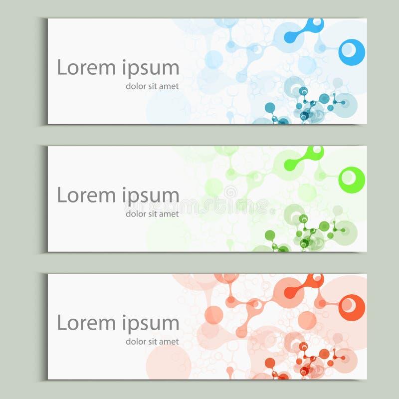 Абстрактный дизайн знамени молекул Шаблон крышки вектора бесплатная иллюстрация