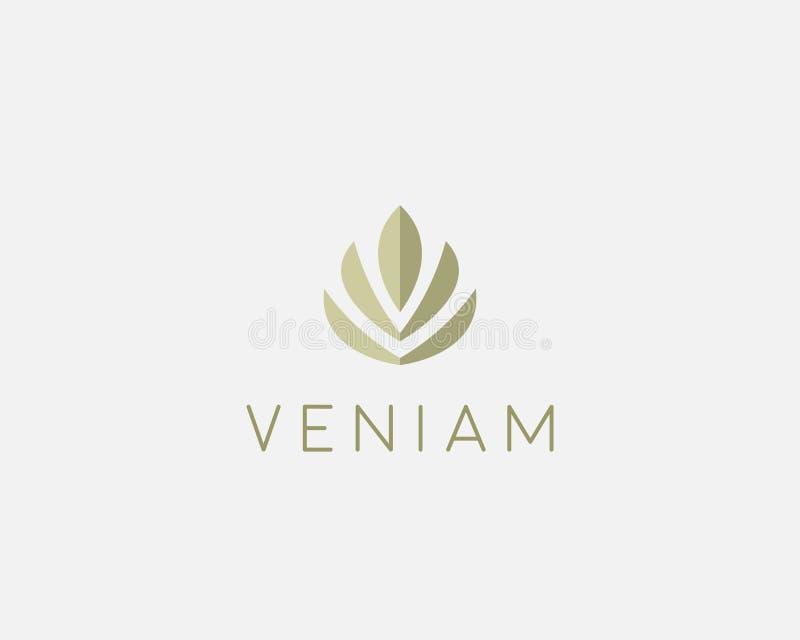 Абстрактный дизайн значка логотипа лотоса цветка Элегантный символ логотипа diadem кроны Всеобщий наградной знак вектора дерева л иллюстрация вектора
