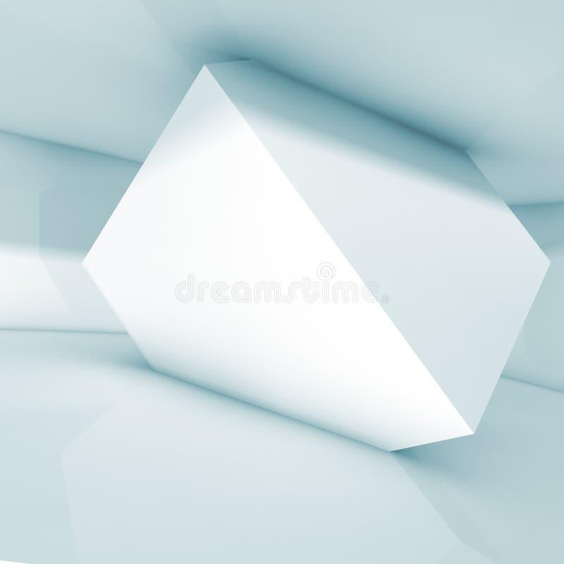 Абстрактный дизайн интерьера, белый куб в комнате иллюстрация вектора