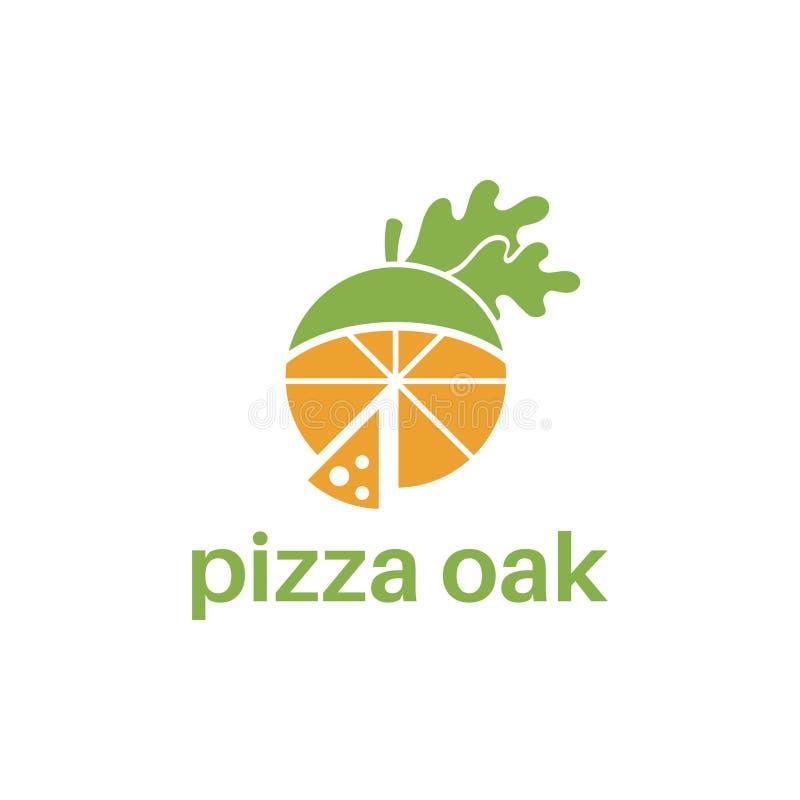 Абстрактный дизайн логотипа шаблона с дубом пиццы концепции иллюстрация вектора