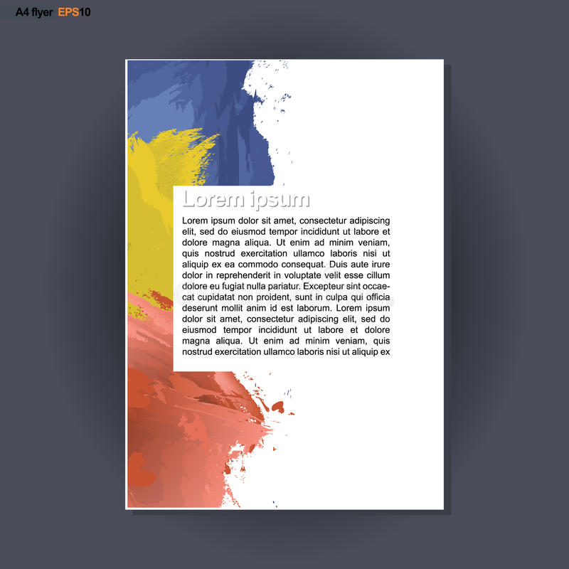 Абстрактный дизайн печати A4 с голубым, красный цвет и желтый цвет чистят ходы щеткой, для рогулек, знамен или плакатов над сереб иллюстрация штока