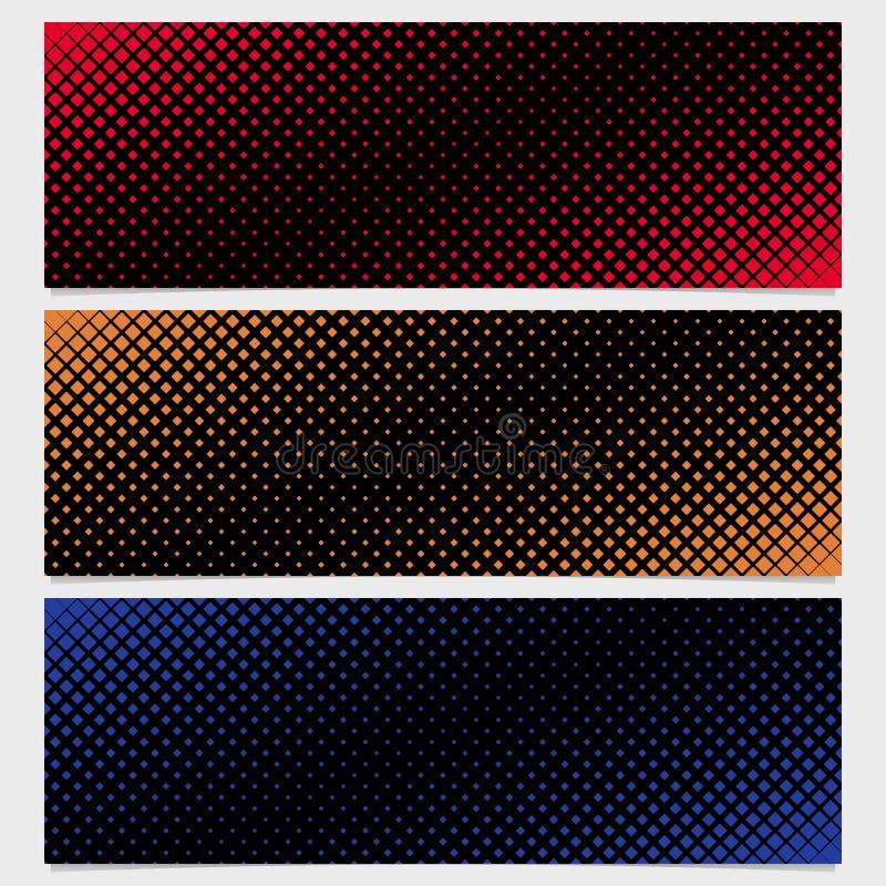 Абстрактный дизайн шаблона знамени картины квадрата полутонового изображения установил - дизайн векторной графики от раскосных кв бесплатная иллюстрация