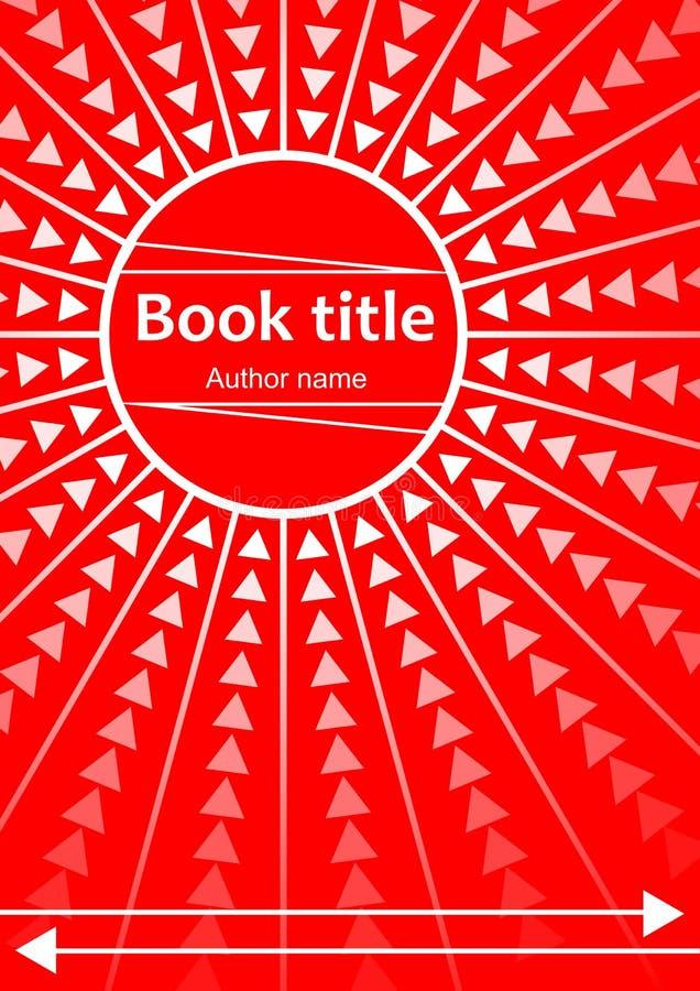 Абстрактный дизайн шаблона для книги, листовки, рогульки, отчета с красным кругом и лучей иллюстрация вектора