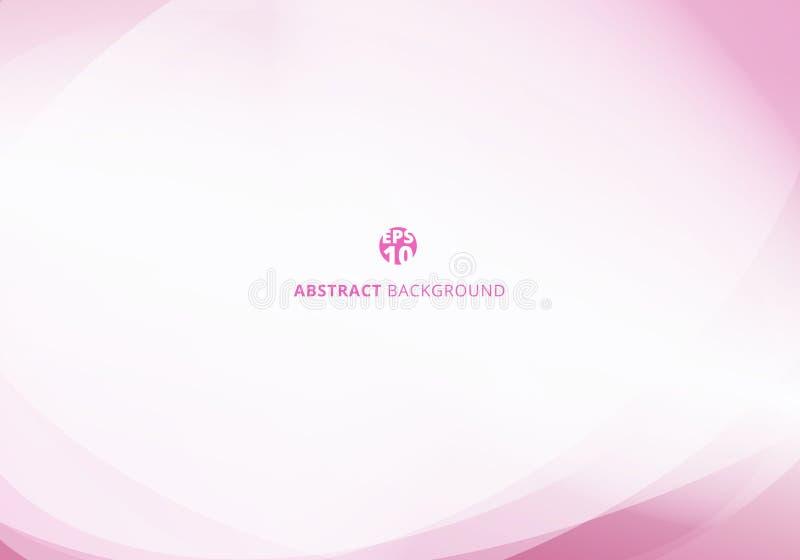 Абстрактный изящный розовый цветной кривый шаблон на белом фоне с пробелом для текста иллюстрация вектора
