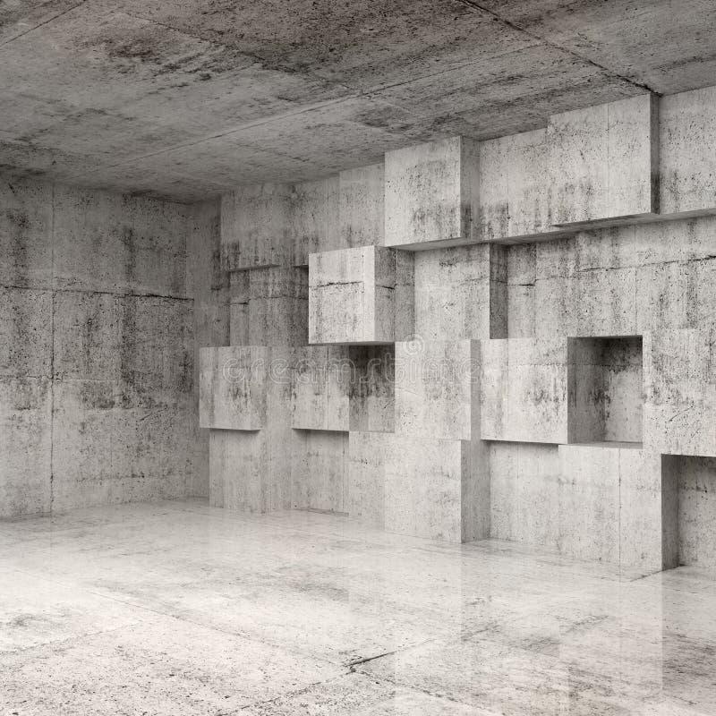 Абстрактный интерьер бетона 3d с кубами иллюстрация штока