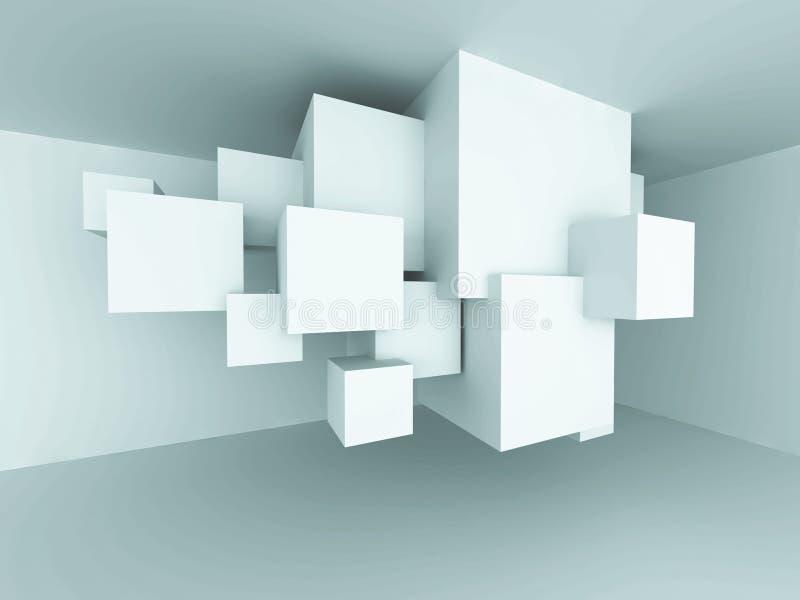 Абстрактный интерьер Backgroun комнаты дизайна блоков куба архитектуры иллюстрация штока