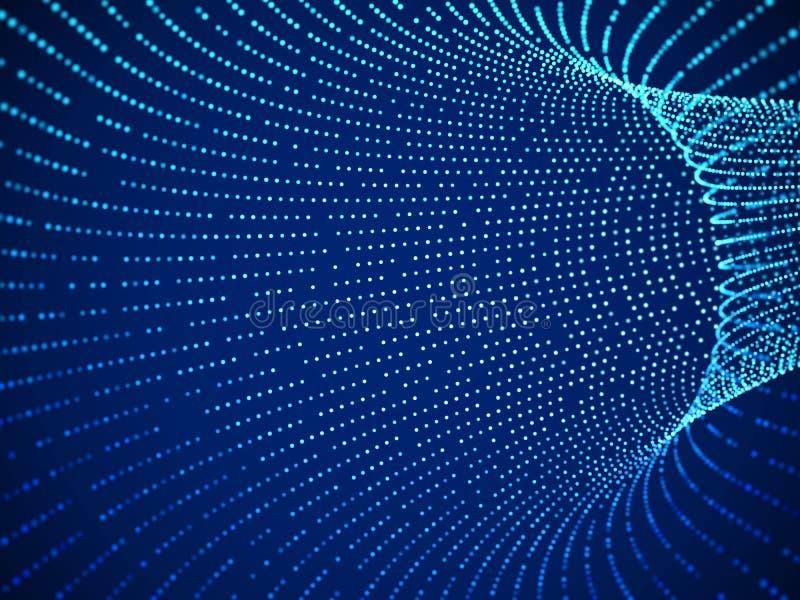 Абстрактный искусственный интеллект визуализирования или большие данные Концепция цифровой технологии бесплатная иллюстрация