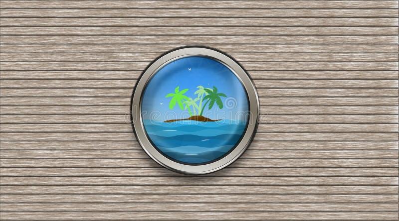 Абстрактный иллюминатор корабля обозревая остров пальмы и иллюстрация вектора