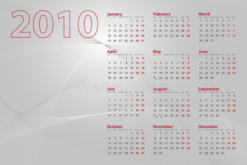 абстрактный календар 2010 иллюстрация штока