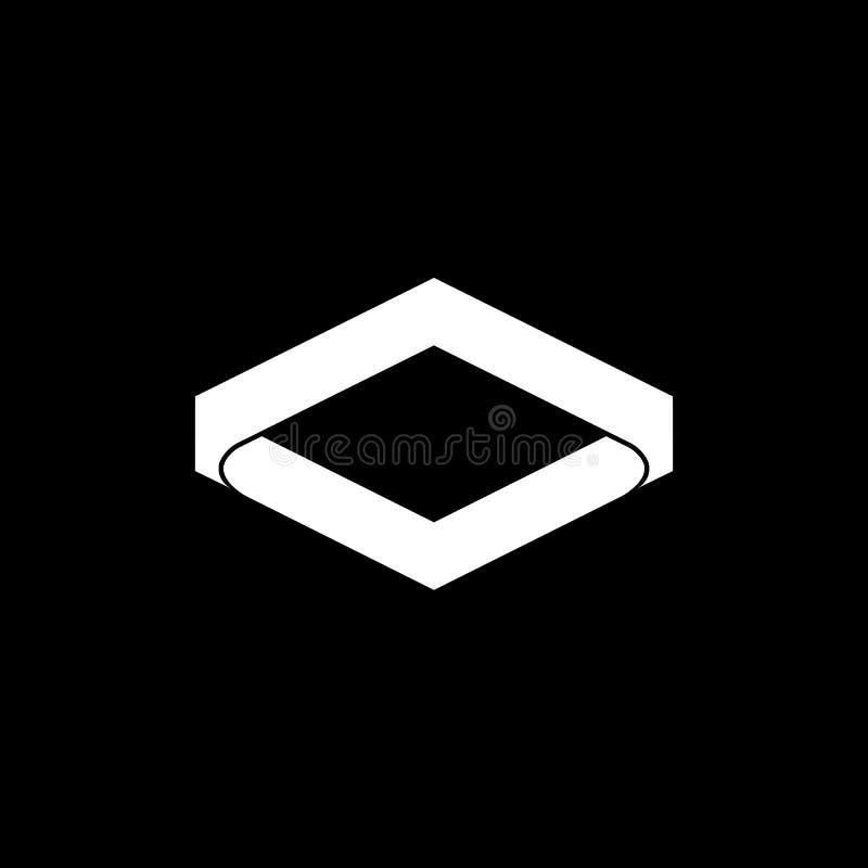 Абстрактный квадрат изгибает простой вектор логотипа 3d иллюстрация штока