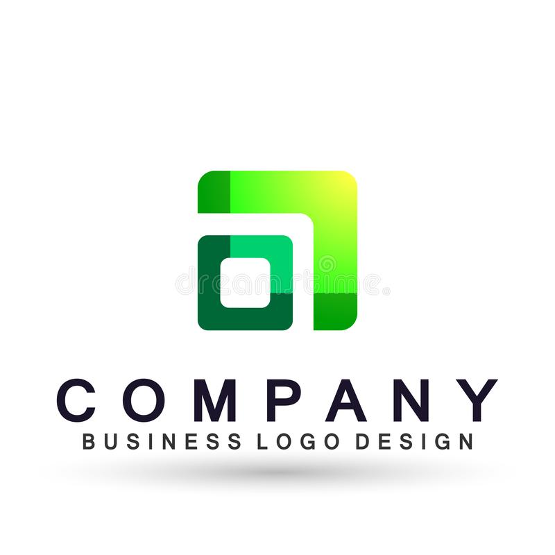 Абстрактный квадрат сформировал логотип дела, соединение на корпоративном инвестирует дизайн логотипа дела Финансовые инвестиции  иллюстрация штока