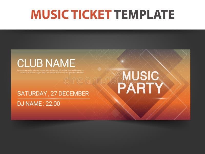 Абстрактный квадратный шаблон билета музыки формы для концерта и musi иллюстрация штока