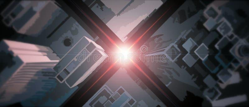 Абстрактный кинематографический горизонт от верхней части иллюстрация штока