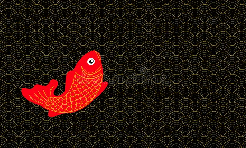 Абстрактный китайский стиль картины с удачливыми рыбами иллюстрация штока