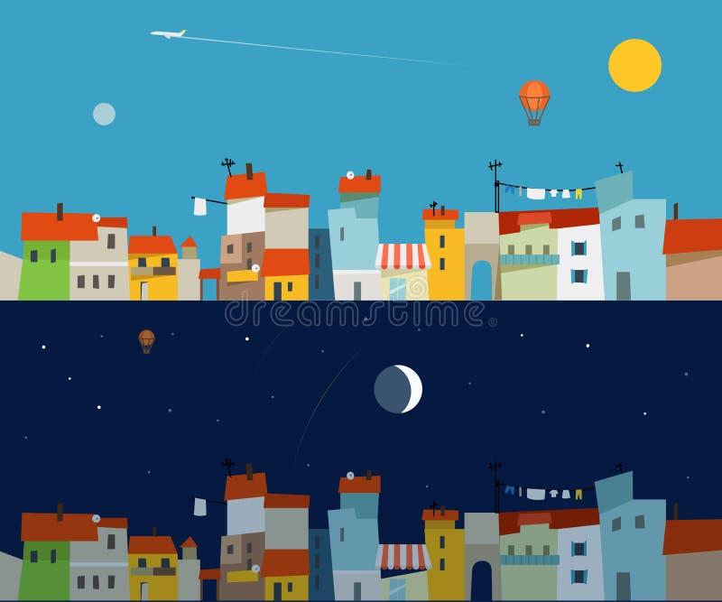 Абстрактный комплект иллюстрации карты города Дизайн Ftat иллюстрация штока