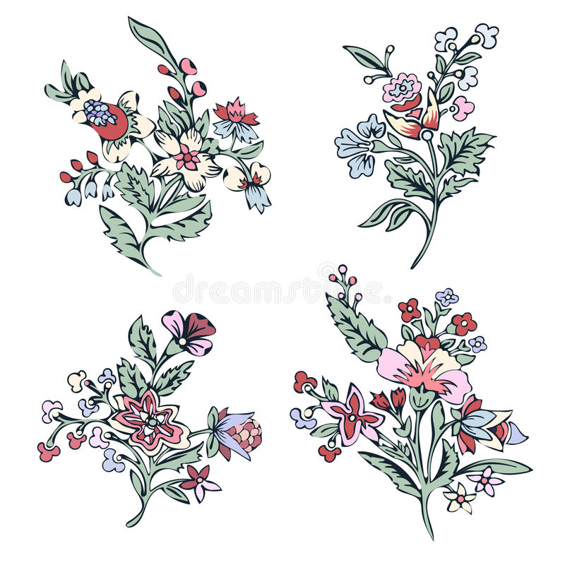 Абстрактный комплект цветка, цветение фантазии красочное, заводы doodle Для дизайна печатей, ткани, татуировка, украшение иллюстрация штока