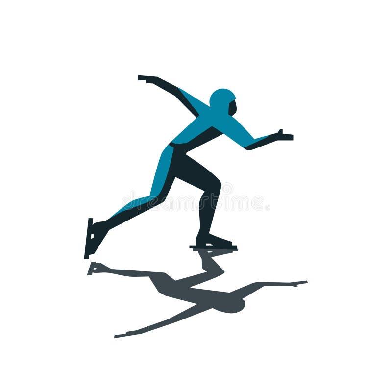Абстрактный конькобежец скорости иллюстрация вектора