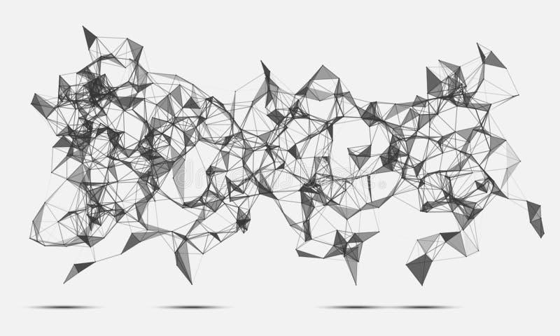 Абстрактный космос треугольников низко поли Белая предпосылка с соединяясь точками и линиями Светлая структура соединения Полигон иллюстрация вектора