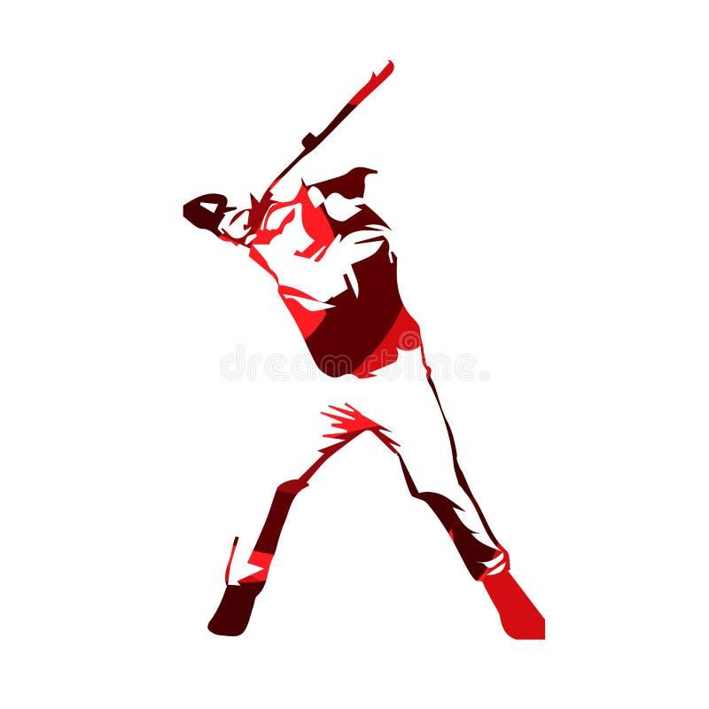 Абстрактный красный бейсболист, силуэт вектора иллюстрация штока