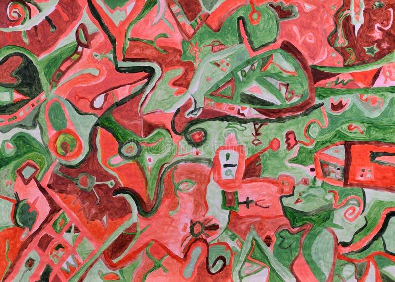 Абстрактный красный свет захода солнца над картиной зеленого ландшафта акриловой иллюстрация штока