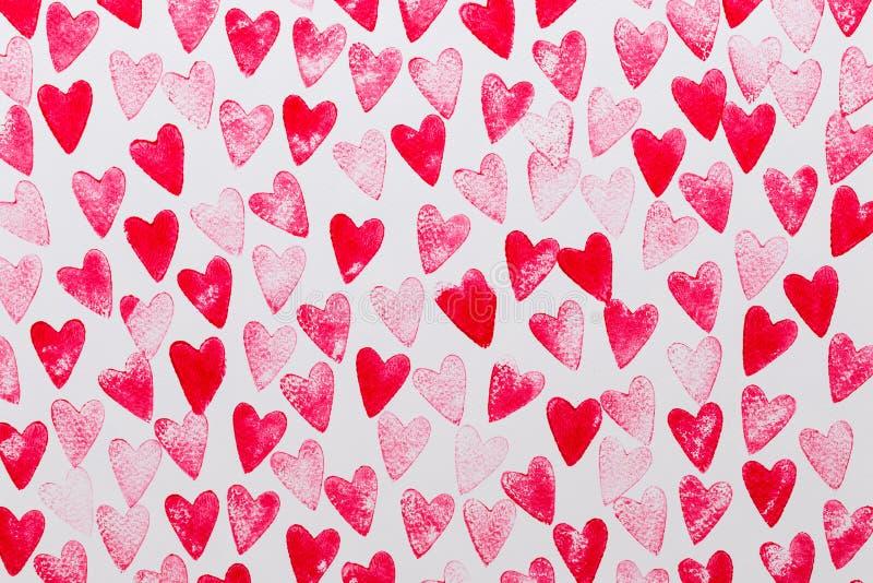 Абстрактный красный цвет акварели, розовая предпосылка сердца Любовь концепции, поздравительная открытка дня Валентайн бесплатная иллюстрация
