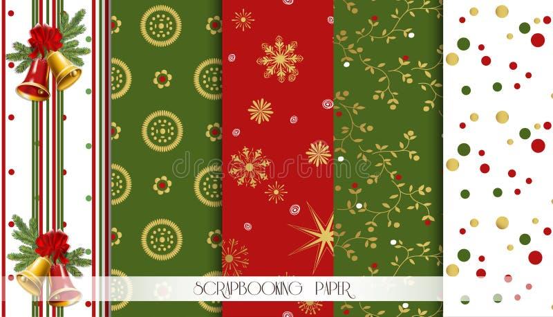 Абстрактный красный цвет, зеленый цвет и установленные картины золота безшовные Шаблоны дизайна рождества вектор иллюстрация штока