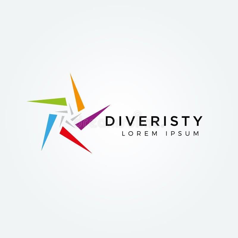 Абстрактный красочный значок символа знака логотипа разнообразия звезды иллюстрация вектора