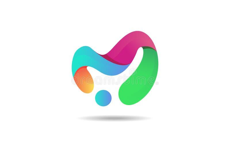 Абстрактный красочный логотип, современная концепция значка 3d иллюстрация штока