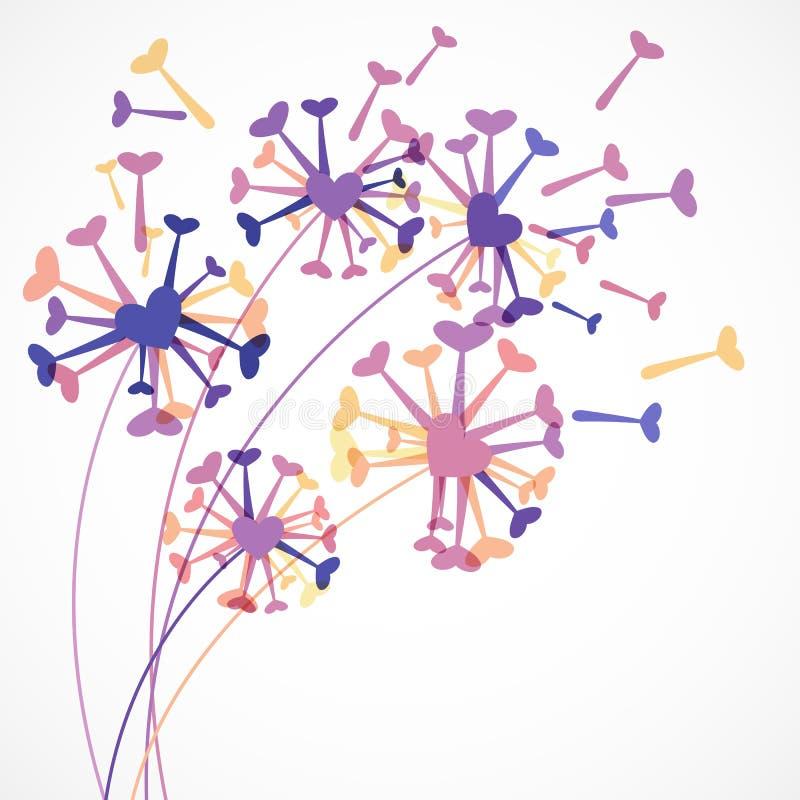 Абстрактный красочный цветок одуванчика сердца Backgrou вектора флористическое бесплатная иллюстрация