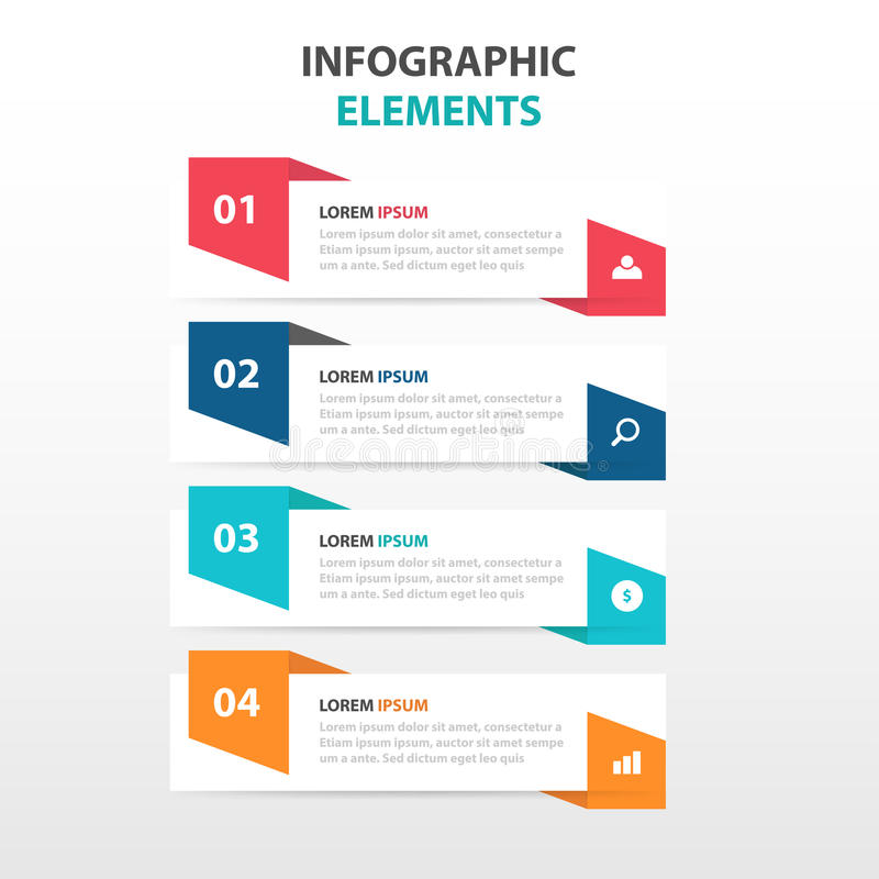 Абстрактный красочный ярлык с элементами Infographics дела лупы, вектор дизайна шаблона представления плоский бесплатная иллюстрация