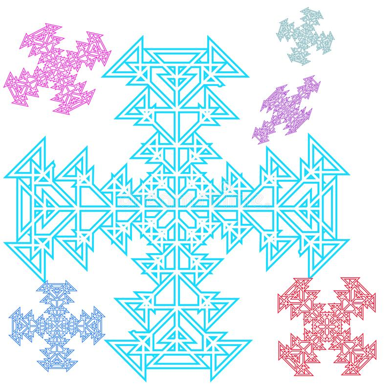 Абстрактный крест, снежинка от треугольников красивейший комплект бесплатная иллюстрация