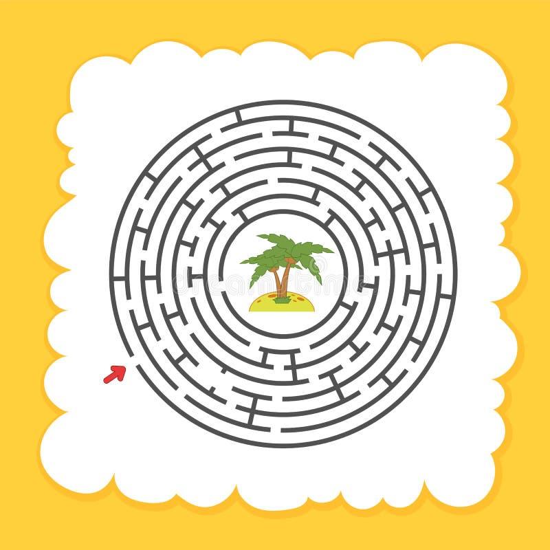Абстрактный круглый лабиринт малыши игры Головоломка для детей Один вход, один выход Головоломка лабиринта характер милый Плоский иллюстрация штока