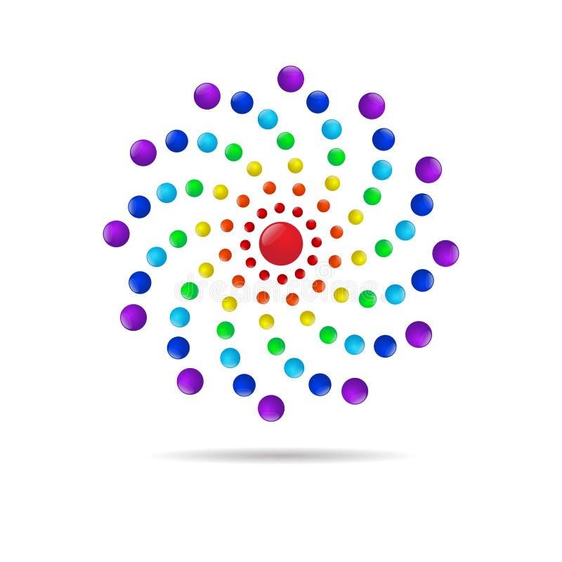 Абстрактный круг ставит точки значок логотипа 3d иллюстрация штока