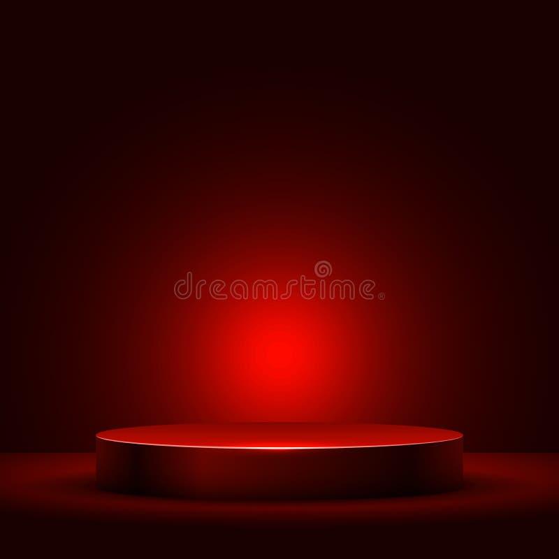Абстрактный круглый подиум с красным светом иллюстрация вектора