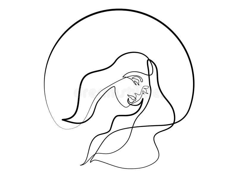 Абстрактный крупный план портрета милой молодой женщины иллюстрация вектора