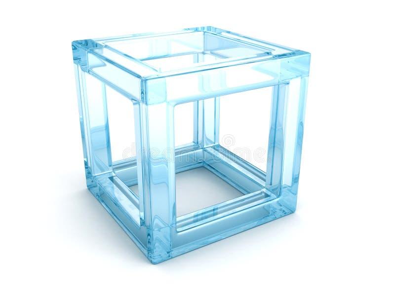 Абстрактный куб синего стекла 3d с тенью иллюстрация штока