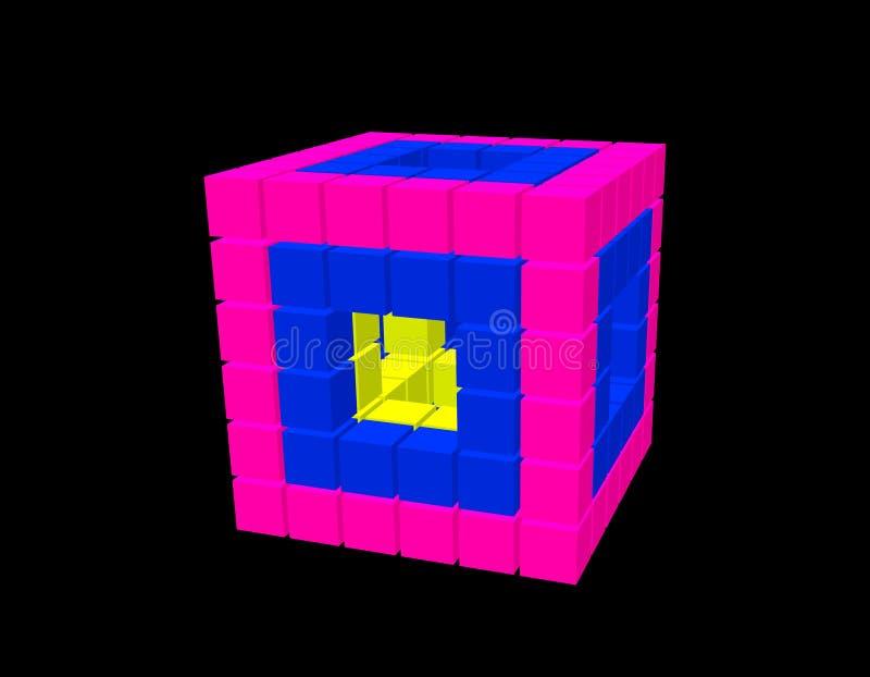 Абстрактный куб 3d от кубов Изолировано на черной предпосылке иллюстрация вектора